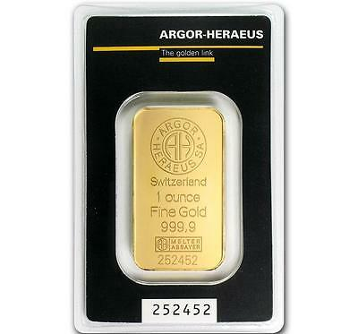1 oz Gold Argor Heraeus .9999 Gold Bar in Sealed Assay Card #A314