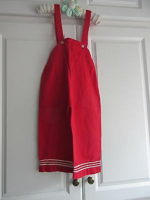 Vtg 50's Children's Red Cotton Overalls Rick Rack Trim ADORABLE!