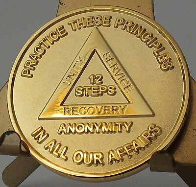 Alcoholic Recovery Principles 12 Steps GOLD PLATED Coin Medal Token AA Anonymous