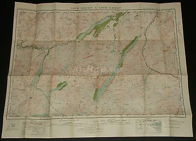 Scotland Ordnance Survey Map 48 Loch Ericht and Loch Laggan 1928 Vintage