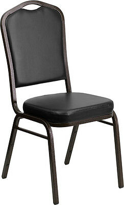Lot of 10 Crown Back Black Vinyl Gold Vein Frame Poker Table Stack Chairs