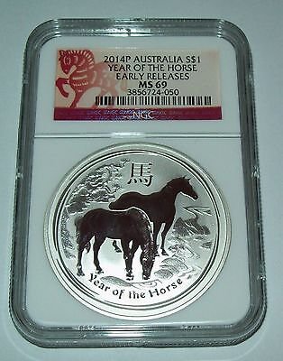 2014 NGC MS69 Australian Year of the Horse Silver 1 Troy Oz  Dollar Lunar Coin
