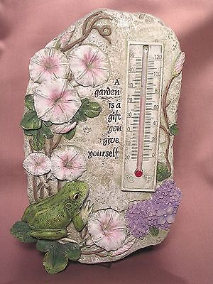Garden Frog Therometer Plaque By Roman New Other
