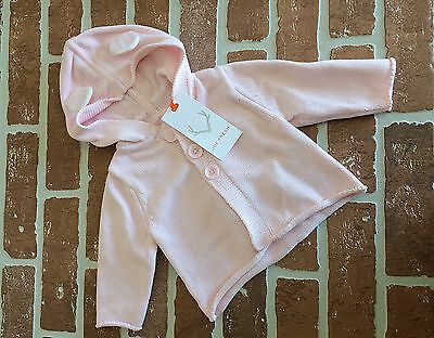 Joe Fresh Baby 3 Months Pale Pink Button Front Hooded Sweater NWT