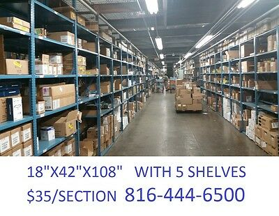 "shelving rivet lock industrial warehouse steel shelves 42""x18""x108"" $35/section"