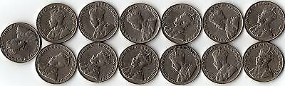Rare Canada Set 13 King George V Era 5 Cent Coins All Different Years.