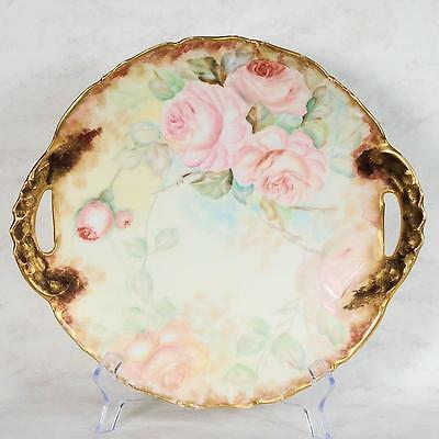 T & V Limoges France Handled Serving Plate - Ca. Late 1800's Early 1900's