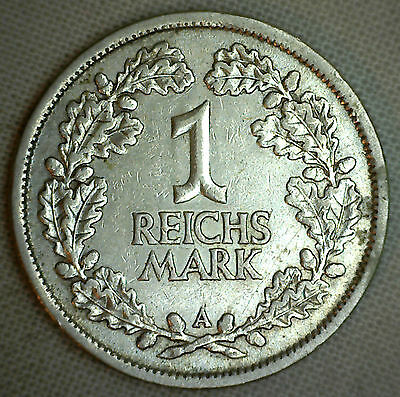1925 A Germany Weimar Republic Reichsmark KM#44 VF Silver Coin #P