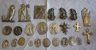 "25 Silver Christian Antique Icons And Holy Figurines 1.8-6.8 Cm (0.7""- 2.7"")"
