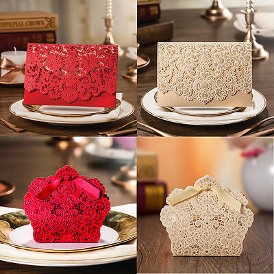Classic Red Gold Laser Cut Wedding Favour Bags Boxes Invitations Cards Envelopes