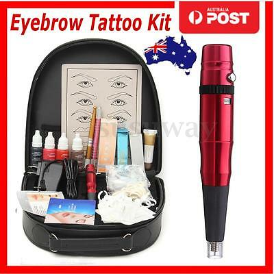 Permanent Microblading Eyebrow Lips Tattoo Machine Pen Needles Set Kit + Case