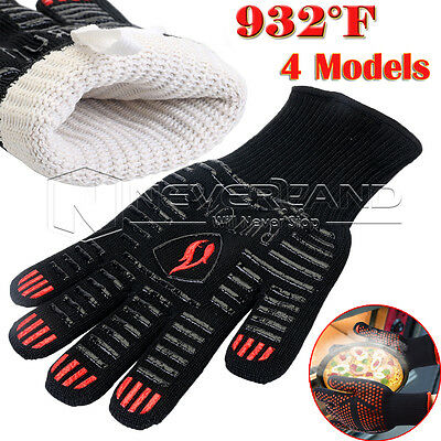 2X BBQ 932°F Heat Resistant Proof Mitts Oven Cooking Kitchen Grill Gloves Mitts
