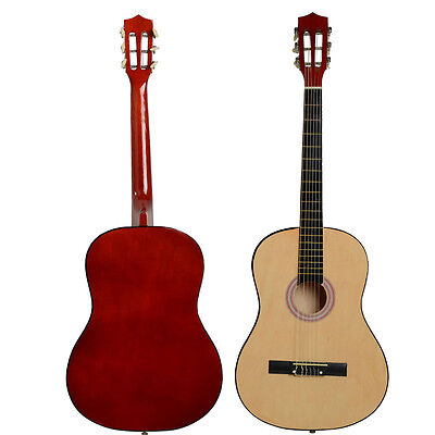 "New 38"" Basswood Fingerboard Classical Acoustic Guitar Wood Color+ Pick + String"