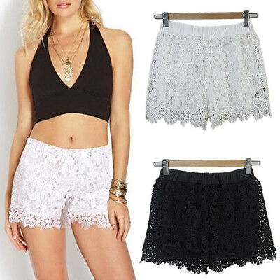 Lace Crochet Shorts Tiered Pants Sweet Skorts Womens Fashion S M L Black Skirt