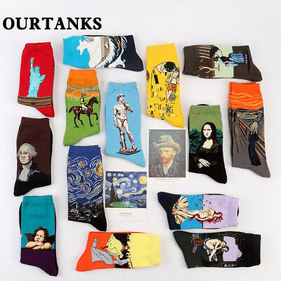 3D Retro Women Men Novelty Painting Art Sock Funny Starry Night Vintage Socks
