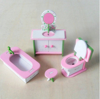 Cute Wooden Furniture Dolls House Family Miniature Bathroom Toilet Set For Kid