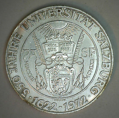 1972 Silver Austria 50 Schilling Coin Currency AU