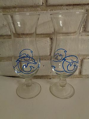 """2 Dolphin Cruise Lines Hurricane Drink Glasses Tumblers Height 8 1/4"""" Rare"""