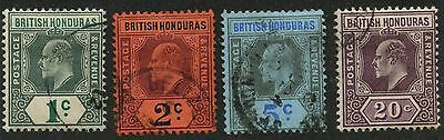 British Honduras 1902 KEVII issue Complete Wmk 2 set Sc #58-61 used