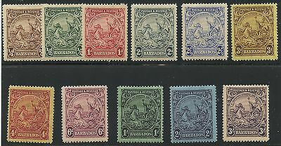Barbados 1925 issue Sc#165/179 mhr - not including later 1930's issues