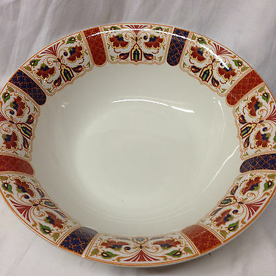 "Queen's Imari 9 3/8"" Round Vegetable Bowl Blue Red Green Floral Design Arches"