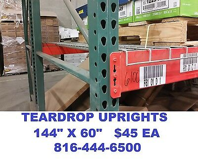 "teardrop upright pallet rack racking frame 12'x60"" interlake heavy duty used"