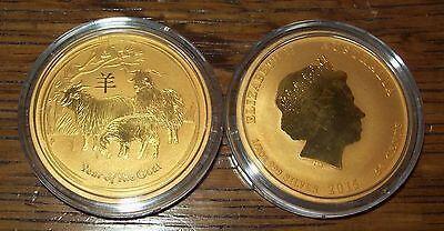 2015 24K Gold Gilded Australian Year of the Goat Silver 1/2 Troy Oz. Lunar Coin