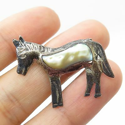 Vtg Mexico 925 Sterling Silver Real Abalone Shell Donkey Pin Brooch