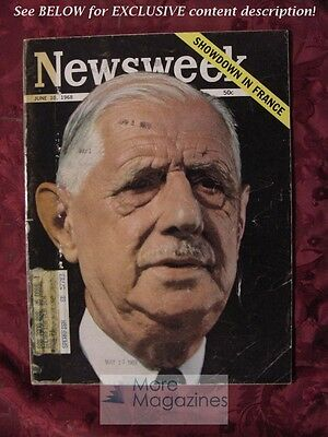 NEWSWEEK Magazine June 10 1968 Jun 6/10/68 CHARLES DE GAULLE FRANCE