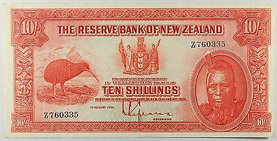 "New Zealand P154 10/- Shillings 1934 ""chief Maori"" Vf Very Fine Epq"
