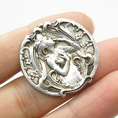 Antq 925 Sterling Silver Victorian Lady Pin Brooch