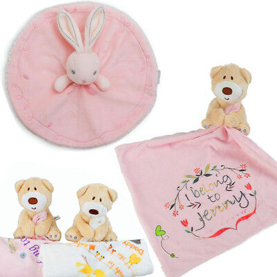 Personalised Printed Baby Soft Teddy Bear Plush Comforter Blanket New Born Gift