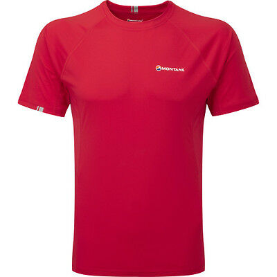 Montane Sonic Ss Mens Base Layer Top - Alpine Red All Sizes