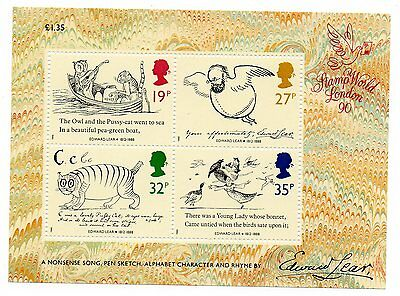 GB 1989 Edward Lear unmounted mint mini / miniature sheet MNH m/s stamps