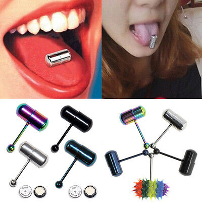 Multi Colors Vibrating Tongue Bar Ring Stud Body Piercing Jewelry + Batteries