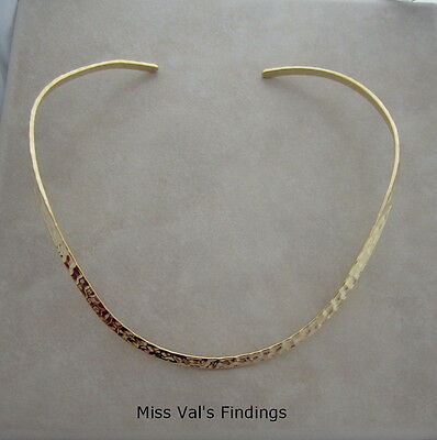 2 gold plated plain hammered neckwire necklace choker base