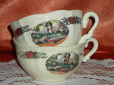 2 Tasses A Cafe The  En Faience  Sarreguemines Obernai H Loux N°5