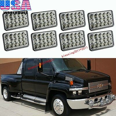 8X LED Headlights Headlamps For GM C4500 and C5500 vehicles with dual headlights