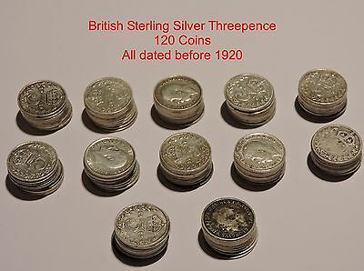 British Silver Threepence - Big lot of 120 Coins - .925 / Sterling Silver