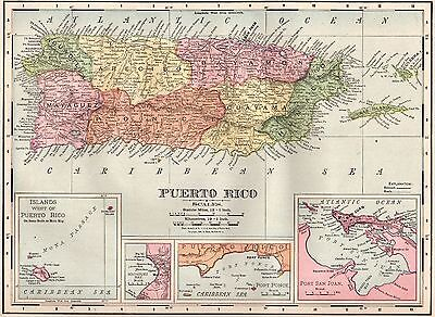 1900 Antique PUERTO RICO Map Vintage Map of Puerto Rico Gallery Wall Art #3656