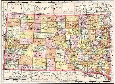 1900 Antique SOUTH DAKOTA Map Original Map of South Dakota Gallery Wall Art 3658