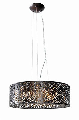 ET2 Lighting E21308-10BZ Pendant with Clear and White Glass Shades Bronze Finish