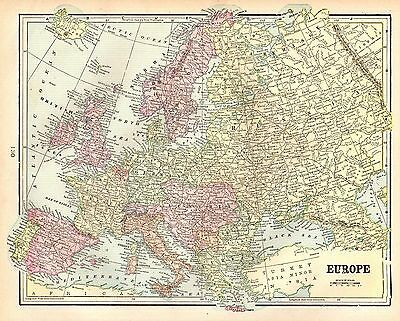 1900 Antique EUROPE Map Original Map of Europe Gallery Wall Art  3663