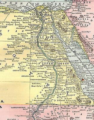 1893 Antique MAP of EGYPT Abyssinia Map Ethiopia Map Original Vintage Map 3666