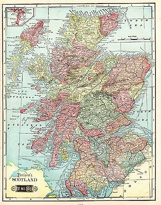 1906 Antique SCOTLAND Map Original Vintage Map of Scotland  #3670