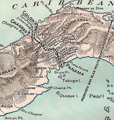 1903 Antique PANAMA CANAL Map Vintage Maritime Canal Map Gallery Wall Art 3676