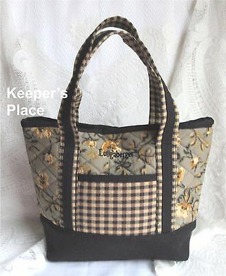 Longaberger Khaki Floral Check Quilted Small Tote Snap Closure New In Package