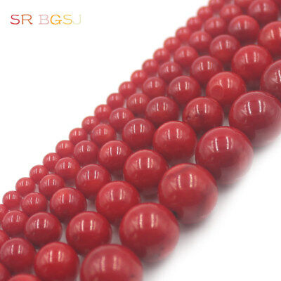 2 4 6 8 10 12mm Natural Round  Red Sea Bamboo Coral Gemstone Jewelry Beads 15""