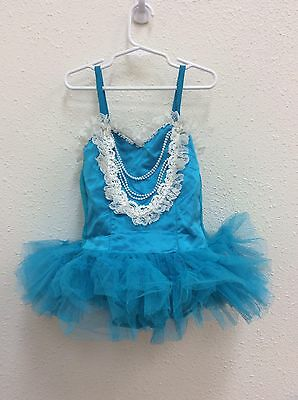 Curtain Call Costumes Sz 8 Girls Blue Ballet Dance Outfit