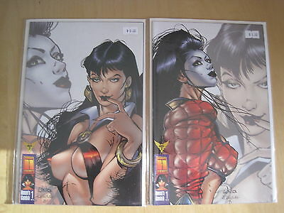 VAMPIRELLA, QUEEN'S GAMBIT 1 by MILLAR :SET OF 2 VARIANT COVERS.SHI. 1998.HARRIS